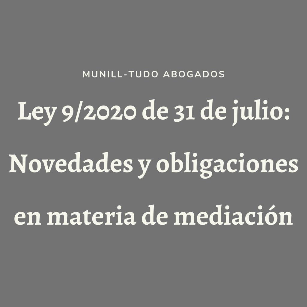 Ley 9/2020 de 31 de julio